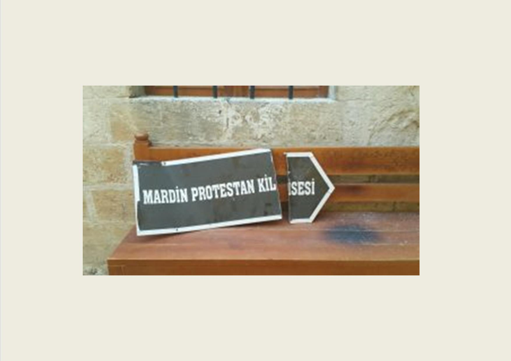 The signboard of the Protestant Church of Mardin was dismantled by person or persons who could not be identified.